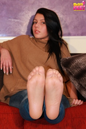Adorable bitch gets out of her brown booties to show her stockinged feet. - XXXonXXX - Pic 5