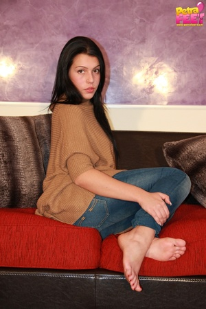 Adorable bitch gets out of her brown booties to show her stockinged feet. - XXXonXXX - Pic 8