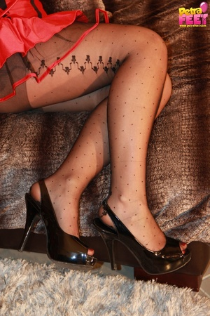Divine cutie in a devil costume takes off her open toed pumps. - XXXonXXX - Pic 6