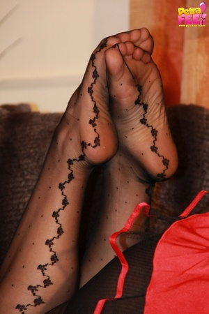 Divine cutie in a devil costume takes off her open toed pumps. - XXXonXXX - Pic 9