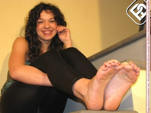Delicious lass removes her black heels to reveal toe nails painted red. - XXXonXXX - Pic 7