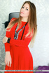 Elegant madam sheds her red dress in front of a…