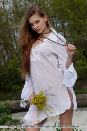Desirable mare in a white nightgown ges naked by the water. - XXXonXXX - Pic 1