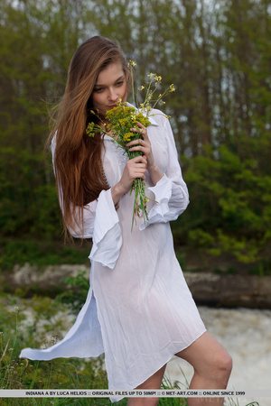 Desirable mare in a white nightgown ges naked by the water. - XXXonXXX - Pic 2