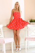 Cute shapely Barbie blonde looks hot in short red dress and hotter without