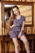 Long hair damsel drops short dress to display…