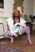 Ebony hooker in white stockings, body and fur coat…