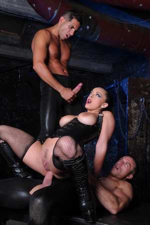 Fishnets-wearing brunette in a corset fucked by her slaves - XXXonXXX - Pic 5