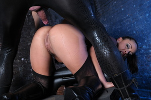 Fishnets-wearing brunette in a corset fucked by her slaves - XXXonXXX - Pic 6