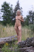 Wild blonde vixen takes off her torn jeans to feel…