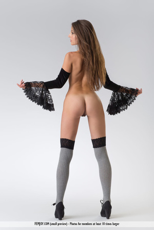 Teen doll in black lacy lingerie flashes her V against a grey background. - XXXonXXX - Pic 5
