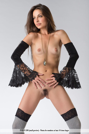 Teen doll in black lacy lingerie flashes her V against a grey background. - XXXonXXX - Pic 6