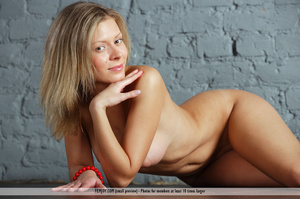 Captivating nympho in white panties with pink trim poses naked in front of a grey wall. - XXXonXXX - Pic 13