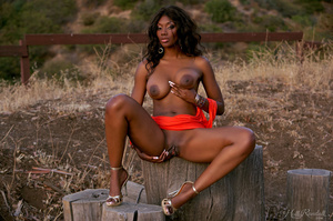 Pretty ebony chick in orange dress shows tempting boobs, ass and cunt outdoors - XXXonXXX - Pic 6
