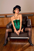 Hot babe drops hat, green and black body corset to…