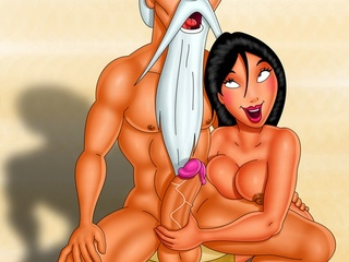 Porn Jasmine from Aladdin playing with two dicks - Picture 3