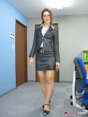 pretty secretary posing her