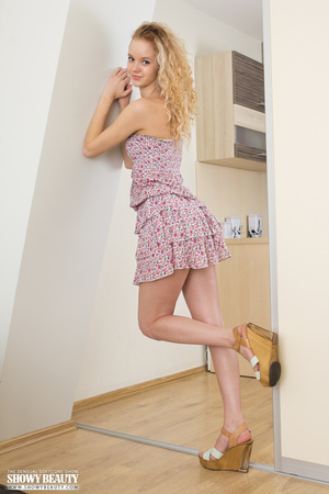 Whore in a flower print dress and grey panties exposes in the kitchen. - XXXonXXX - Pic 3