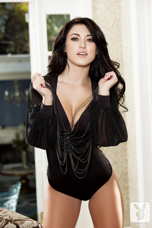 Nympho with dark hair in her black teddy takes it all off in the living room. - XXXonXXX - Pic 12