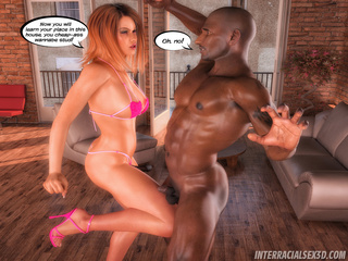 Ginger bitch in a bikini fucking with a black stud - Picture 2