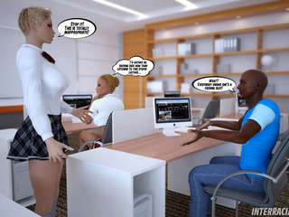 Two blonde office sluts seduce their black colleagues - Picture 1