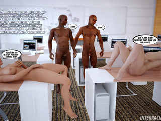 Two blonde office sluts seduce their black colleagues - Picture 3