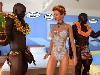 Slutty ginger bride rocking with two black studs - Picture 2