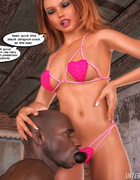 Pervert red mistress with a strap-on torturing her black slave
