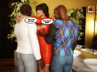 Busty brunette housewife rocking with two black studs - Picture 3