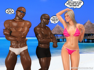 Two horny black guys plugging hot blonde chick from - Picture 1