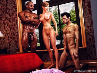 Ginger babe abusing her husband fucking with a black - Picture 1