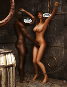 Horny black dude handling enchained brunette hottie in various poses