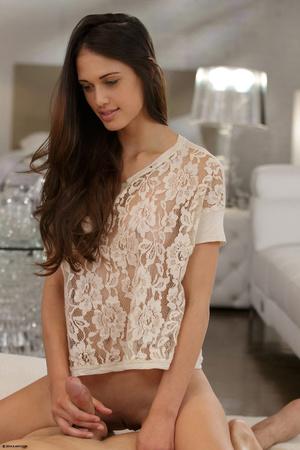 Alluring brunette girl in a white lace b - XXX Dessert - Picture 9