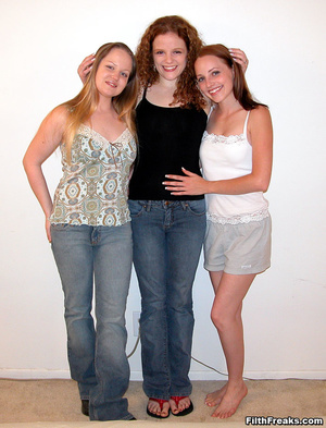 Three sexy female friends get down and dirty with vibrators and a huge red double-ended dildo. - XXXonXXX - Pic 1