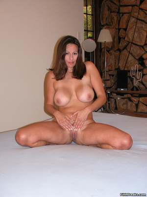 Mature maven with perfectly round tits and tan lines spreads on bed and couch before sex session. - XXXonXXX - Pic 3