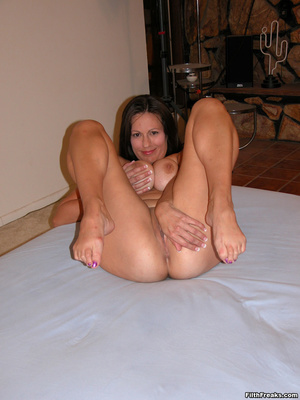 Mature maven with perfectly round tits and tan lines spreads on bed and couch before sex session. - XXXonXXX - Pic 7