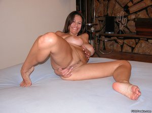 Mature maven with perfectly round tits and tan lines spreads on bed and couch before sex session. - XXXonXXX - Pic 8