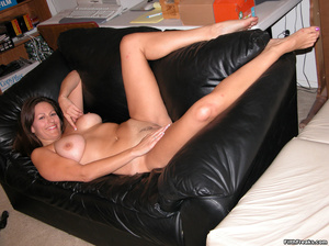 Mature maven with perfectly round tits and tan lines spreads on bed and couch before sex session. - XXXonXXX - Pic 9