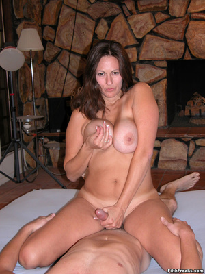 Mature maven with perfectly round tits and tan lines spreads on bed and couch before sex session. - XXXonXXX - Pic 13