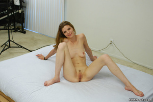 Naked,long-haired blonde with small swatch of pussy hair teases with slender body on large bed. - XXXonXXX - Pic 9