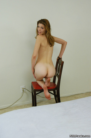 Naked,long-haired blonde with small swatch of pussy hair teases with slender body on large bed. - XXXonXXX - Pic 15