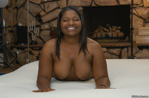 Pussy lips spread on ebony BBW with hairy twat and big tits before hard rod is shoved in her mouth. - XXXonXXX - Pic 2