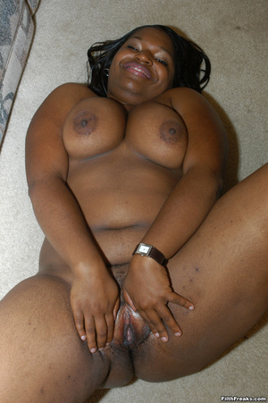 Pussy lips spread on ebony BBW with hairy twat and big tits before hard rod is shoved in her mouth. - XXXonXXX - Pic 6