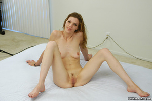 Virginal stunner has sex on her mind posing in a large white bed showing off her precious pussy. - XXXonXXX - Pic 10