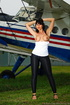Aviation buff parades her generous chest when…