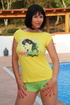 Hottie in yellow tee removes mint green lace…