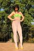 Green bra and panty set peeled off brunette MILF…