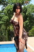 Sultry cheetah print dress slid off gal with…