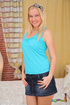 Enchanting slut in a blue shirt and denim skirt…