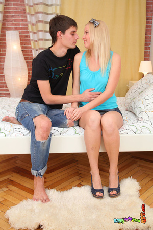 Enchanting slut in a blue shirt and denim skirt takes a meat stick in the back. - XXXonXXX - Pic 4